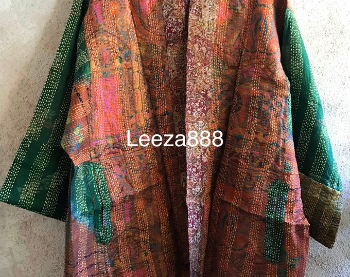 Cocktails at the Gallery silk kantha plus size reversible kimono jacket