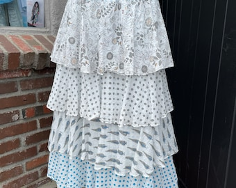Layered mixed print cotton voile summer skirt in gray and turquoise block print mix