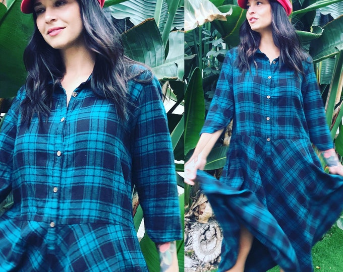 Cotton flannel teal green plaid housedress
