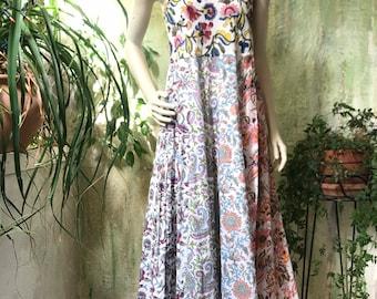 Mixed floral blockprint spaghetti strap dress