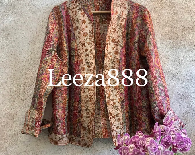 Stunning floral autumn colors mandarin style reversible kantha cropped jacket