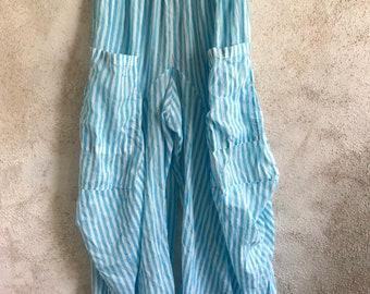 Turquoise stripe super lightweight cotton voile lagenlook pant