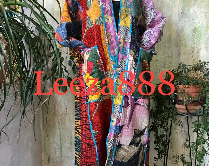 The Vibrant Nomad plus size reversible opera kantha coat