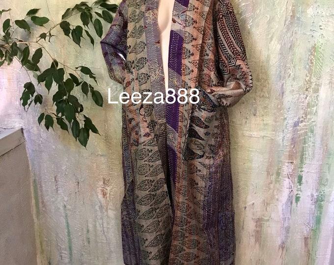 Soho Artist plus size reversible silk kantha duster/kimono