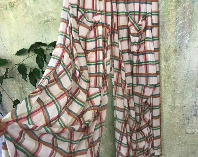 Green and orange big plaid madras cotton lagenlook pant