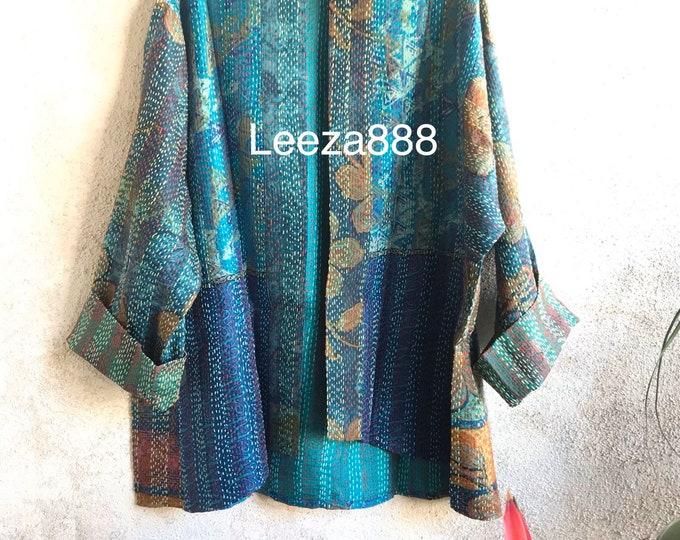 Summer in the City kantha plus size reversible kimono jacket