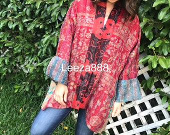 Coral and turquoise fabulous plus size silk kantha reversible jacket