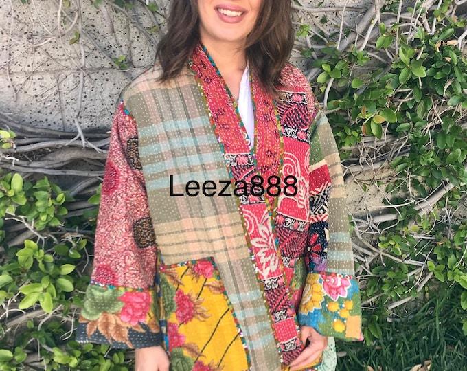 Sunshine and Lolipops floral plus size reversible cotton kantha coat