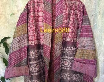 Pretty in Pink silk kantha plus size reversible kimono jacket