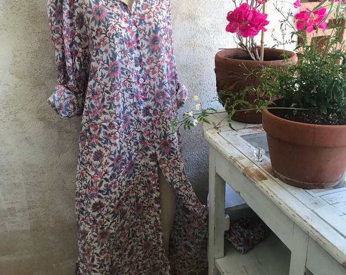 Floral blockprint cotton voile button down shirtdress/duster