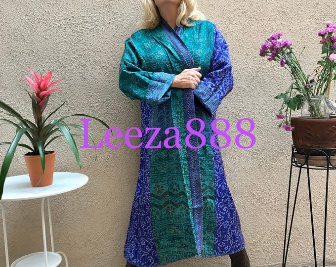 Hawaii winter plus size reversible silk kantha duster/kimono