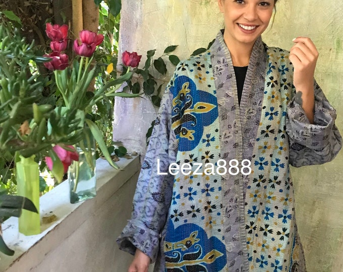 Colorado road trip silk kantha plus size reversible kimono jacket