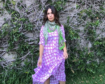 Cotton voile lilac hand wood block print housedress