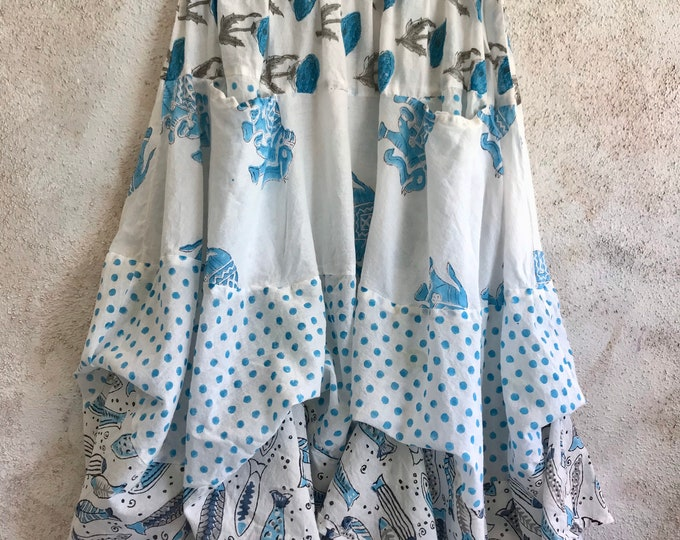 Prairie skirt in cotton voile mixed block prints elephants and fish