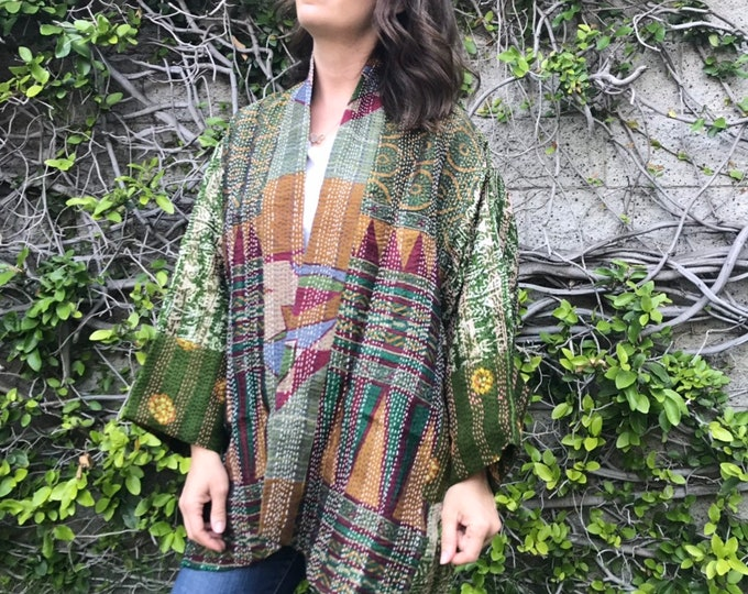 Central Park modern Art plus size silk kantha reversible jacket