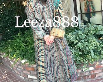 Earthy Zebra stripe plus size reversible silk kantha duster/kimono