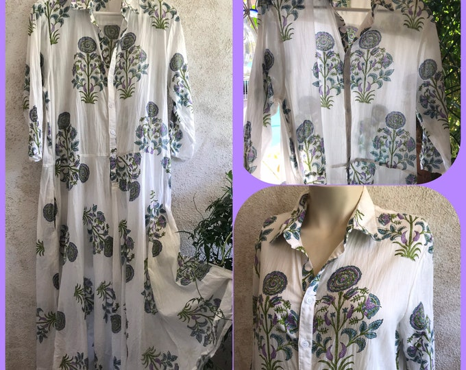 Cotton voile floral hand  wood block print housedress