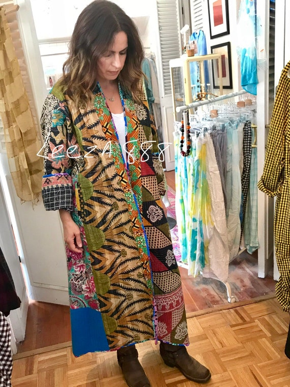 Stunning plus size reversible cotton kantha full length coat