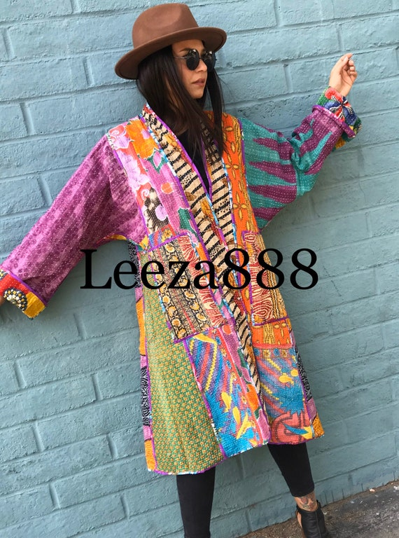 Santa Barbara reversible cotton kantha coat
