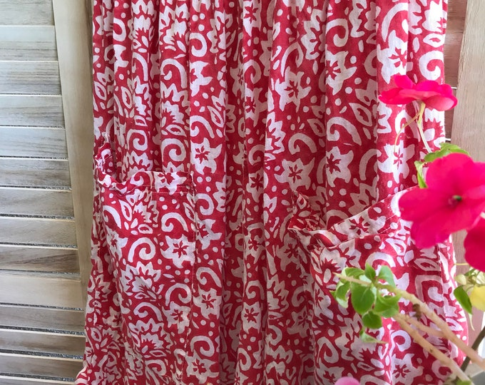 Red blockprint cotton lagenlook skirt