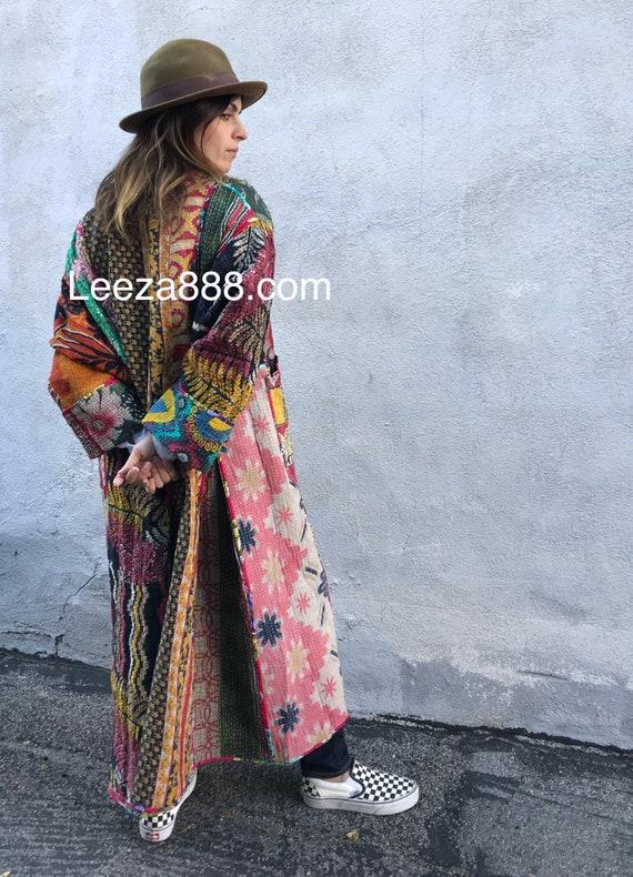 Drama is this reversible kantha kimono in plus size full length
