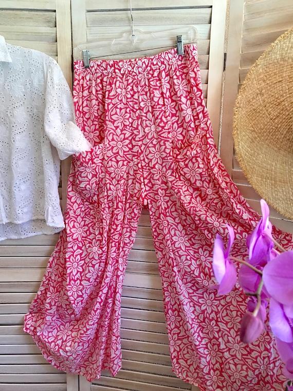 Pink floral cotton voile lagenlook pant