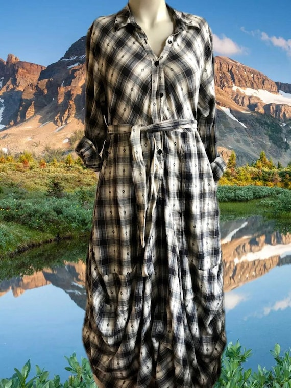 Tan plaid flannel funky dress