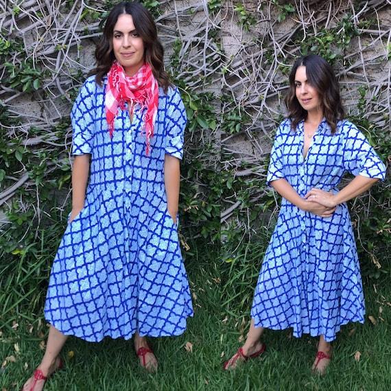 Cotton voile stunning blue hand  wood block print housedress