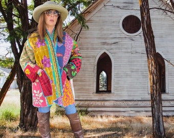 The Gypsy caravan reversible plus size vintage kantha kimono jacket