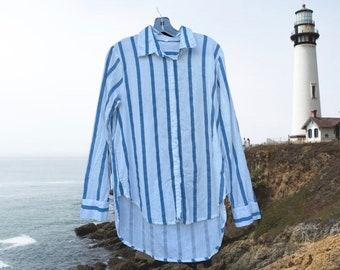 Classic Boyfriend shirt in medium weight linen/cotton nautical stripe