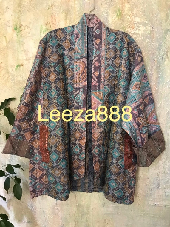 Faded Tapestry  kantha plus size reversible kimono jacket