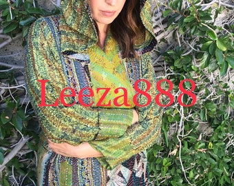 Isis goddess dramatic one of a kind nomad hooded silk reversible kantha coat
