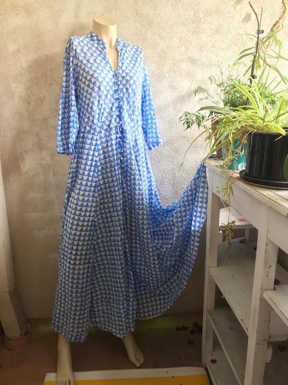 Stunning French blue button down Block printed cotton voile mandarin shirtdress