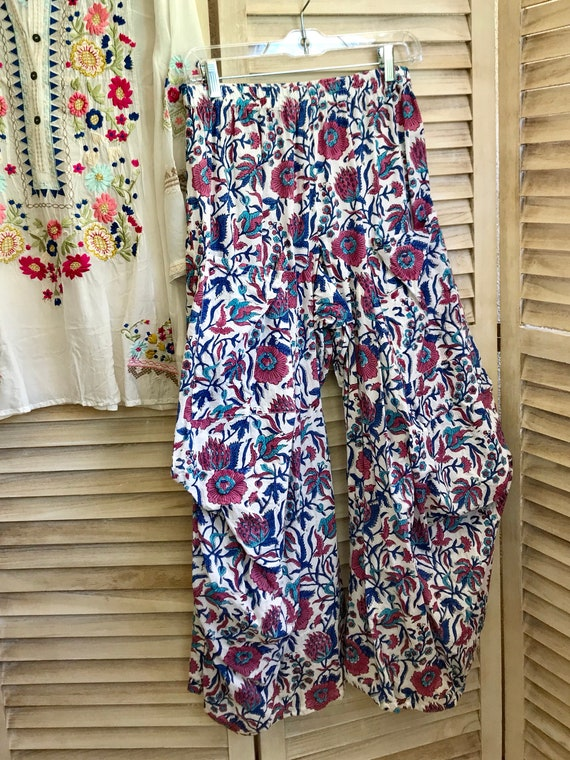 size small Floral blockprint lagenlook pant