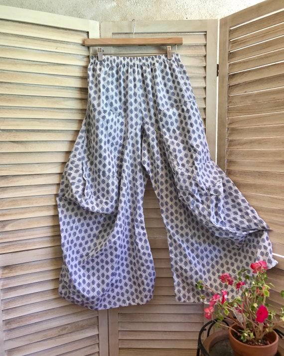Size small cotton block print lurex stripe pant