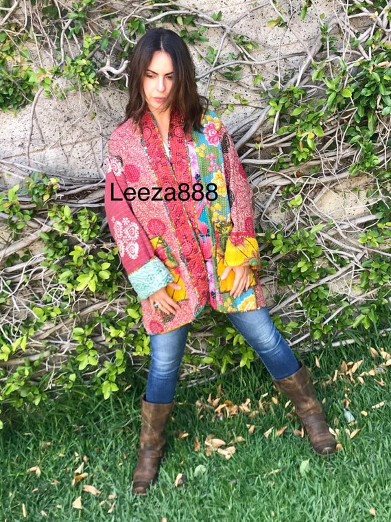 A Day at the Getty plus size reversible cotton kantha coat