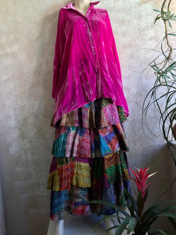 Silk kantha layered artist skirt