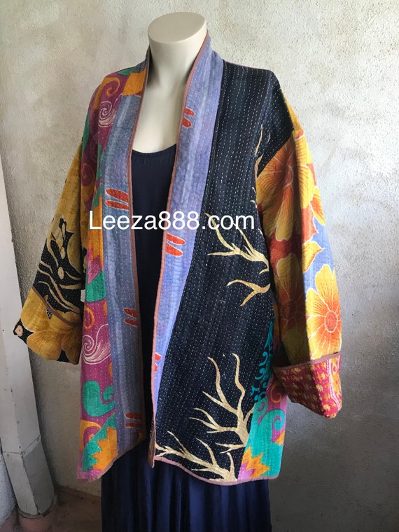 Plus size kantha quilt reversible designer coat