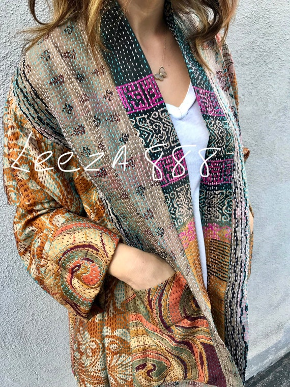 Plus size reversible pumpkin spice silk kantha