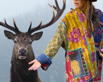 Trip to Spain reversible plus size vintage kantha kimono jacket