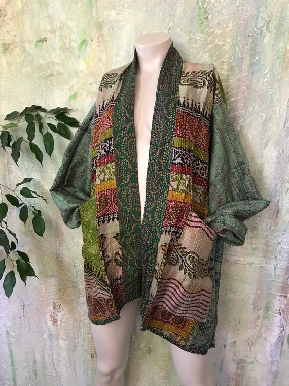 Rainy day in Dublin silk kantha plus size reversible kimono jacket