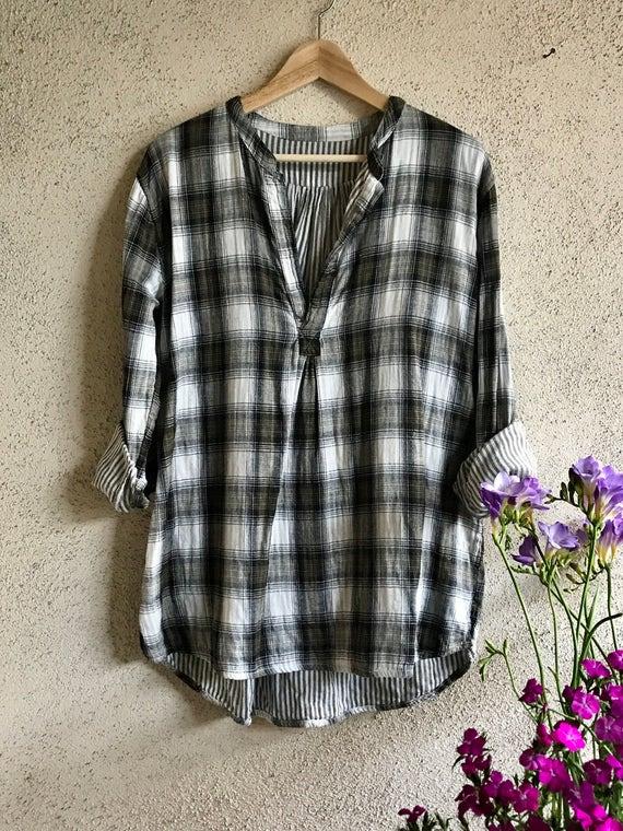 Reversible cotton plaid shirt