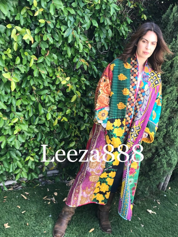 Goddess in the garden reversible plus size cotton kantha stunner