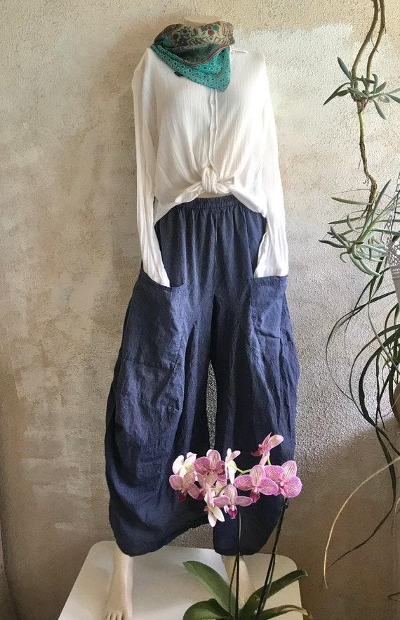Navy pinstripe  super lightweight cotton lagenlook pant