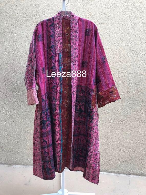 Purple rain plus size reversible silk kantha duster/kimono