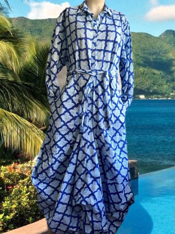 Block print cotton poplin funky dress with pockets