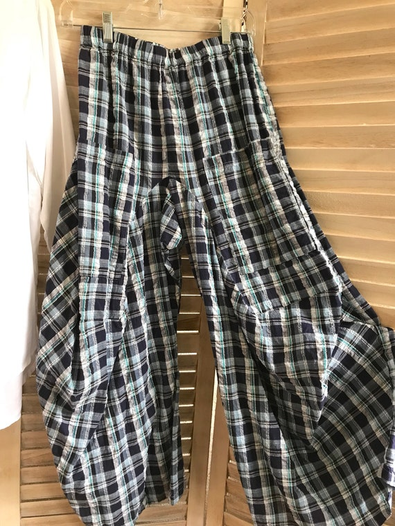 Seersucker navy plaid lagenlook pants in size small and medium