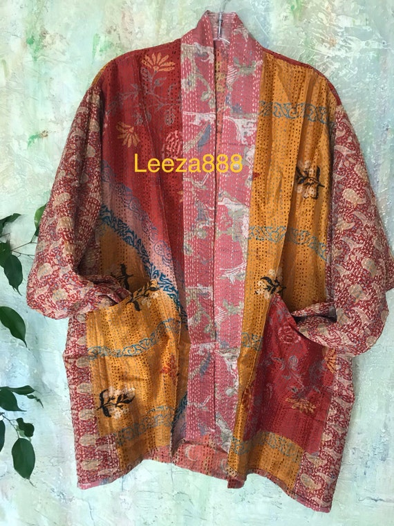 Flamenco Dancer kantha plus size reversible kimono jacket
