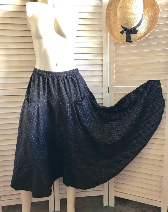 Full circle prairie skirt with lurex windowpane design