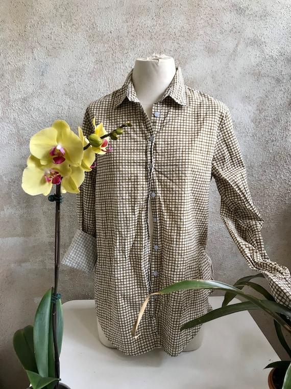 Washed hand blockprint windowpane cotton classic button down boyfriend shirt